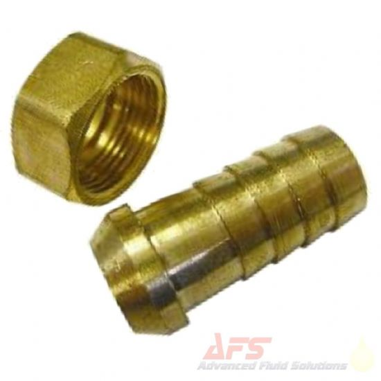 Brass BSP Coned Swivel Female x Barbed Hose Tail Fittings